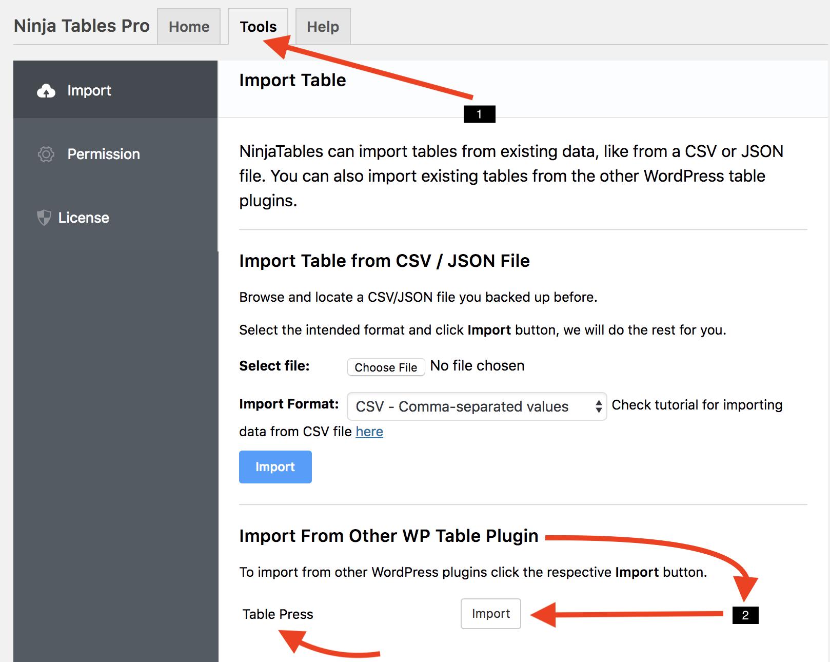 importing data from table press ninja tables wpmanageninja