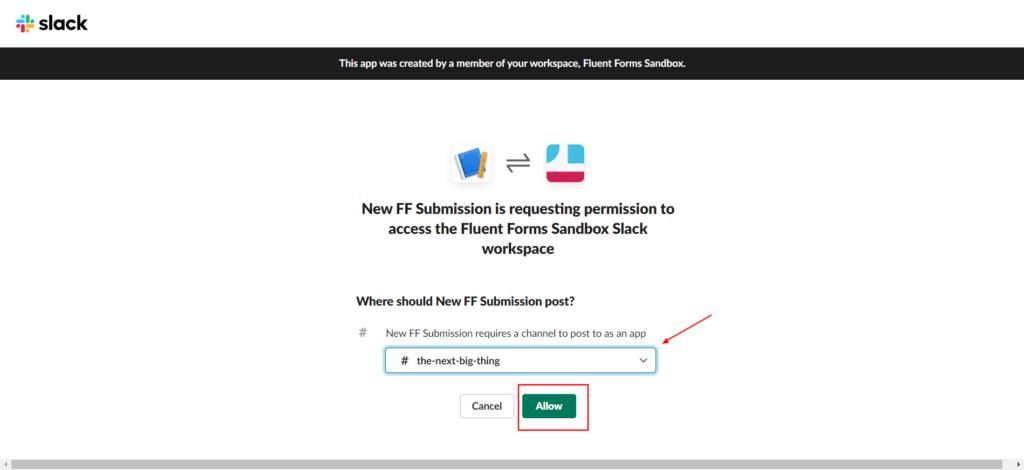 Slack Integration - Allow Fluent Forms
