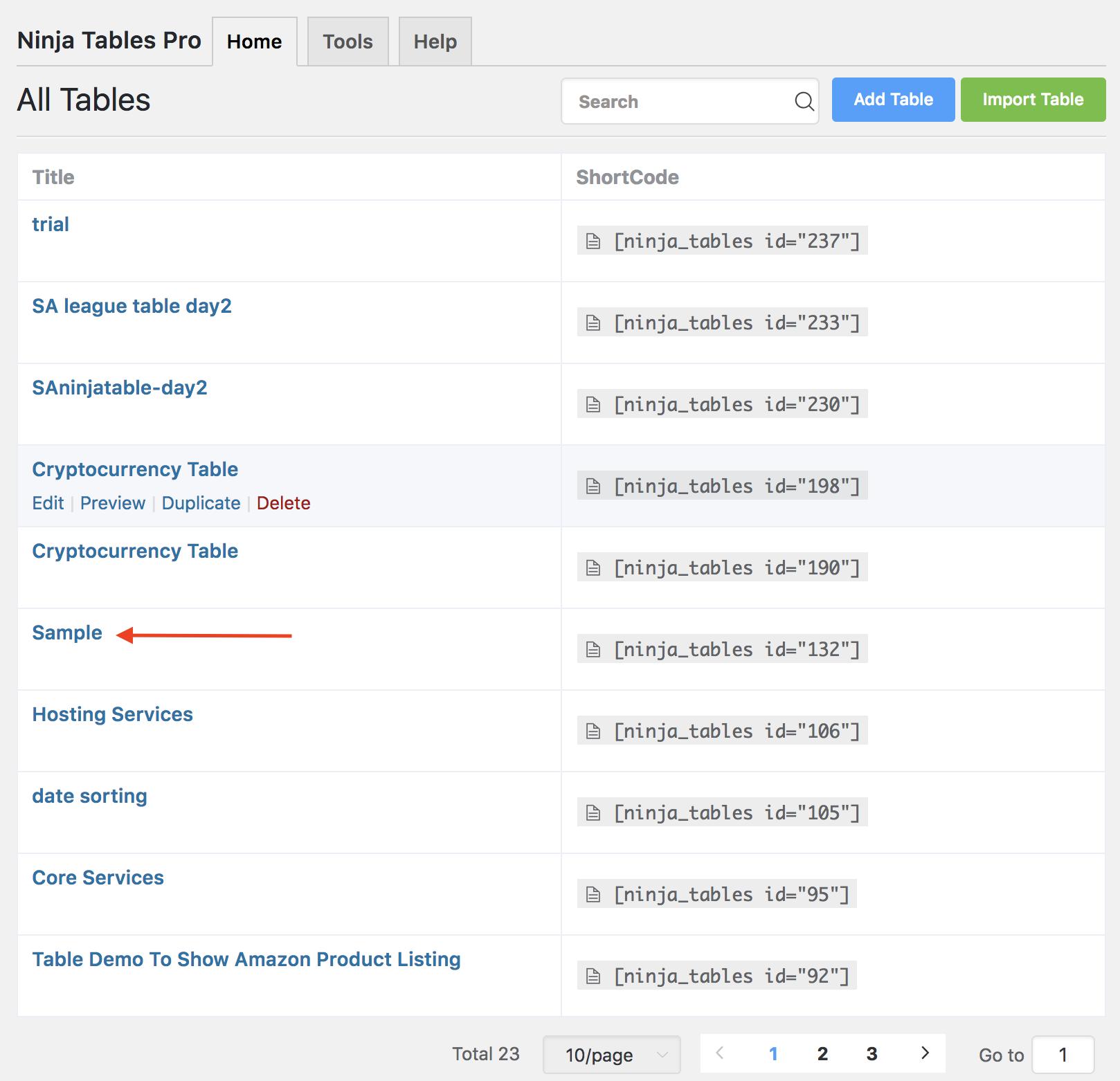 Add/Remove Search or Filter ninja tables wpmanageninja