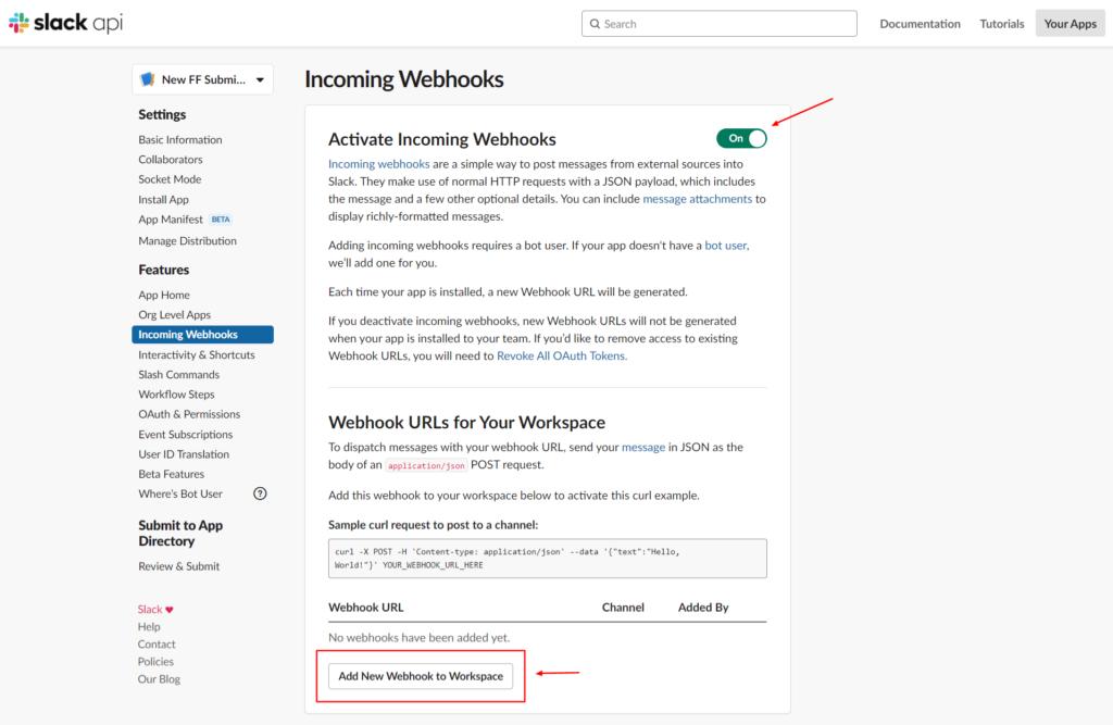 Slack Integration - Create Webhooks - Fluent Forms