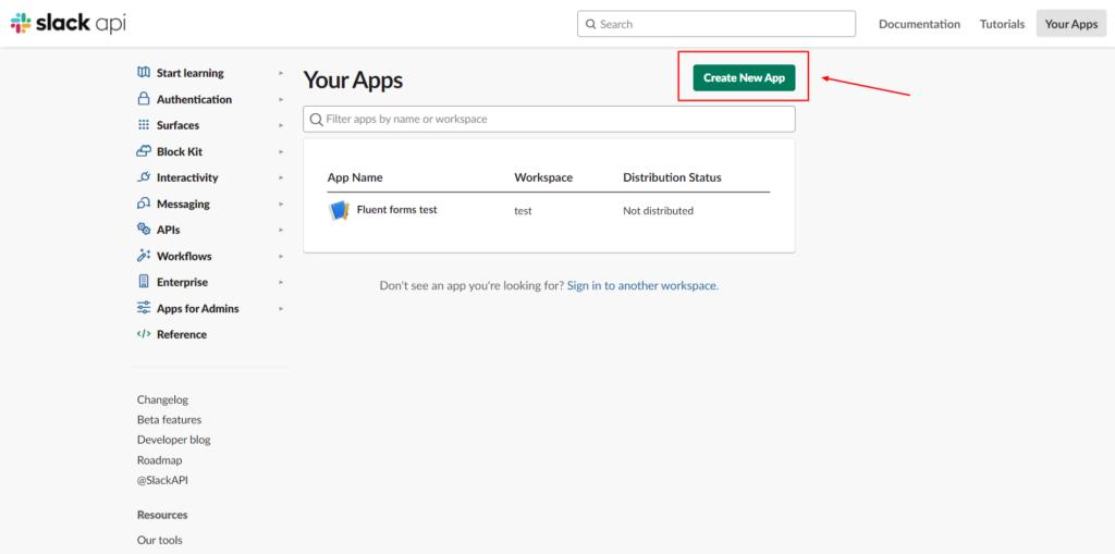 Slack Integration - Create API - Fluent Forms