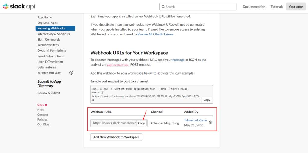Slack Integration - Copy Webhooks - Fluent Forms