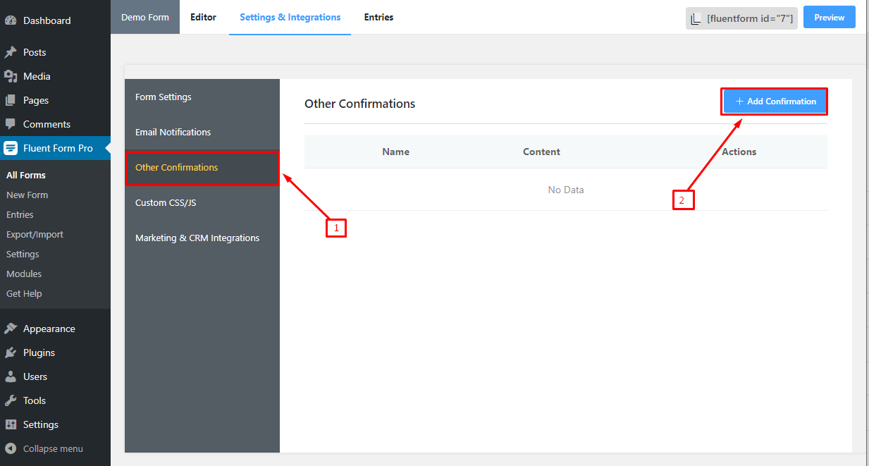 Conditional Confirmation Message in WP Fluent Form WordPress Plugin