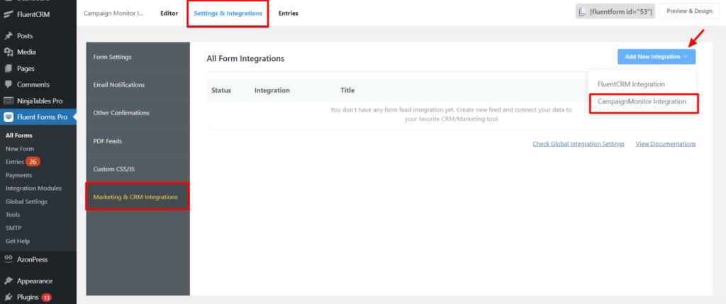 Campaign Monitor setup integrations Fluent Forms