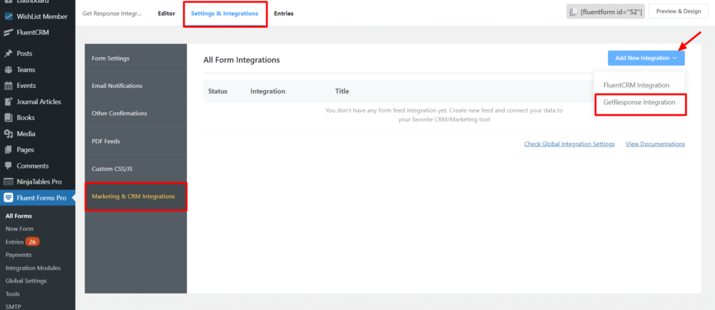 Get Response Integration in WP Fluent Form Settings