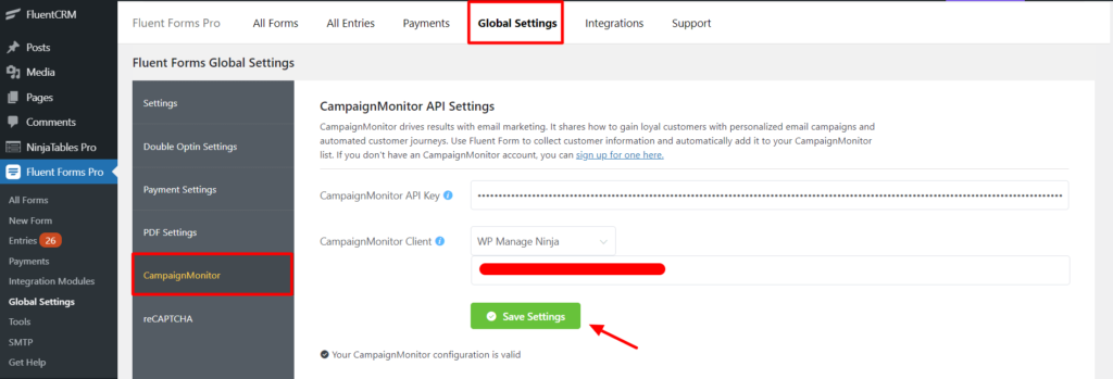 Campaign Monitor Paste API in settings Fluent Forms