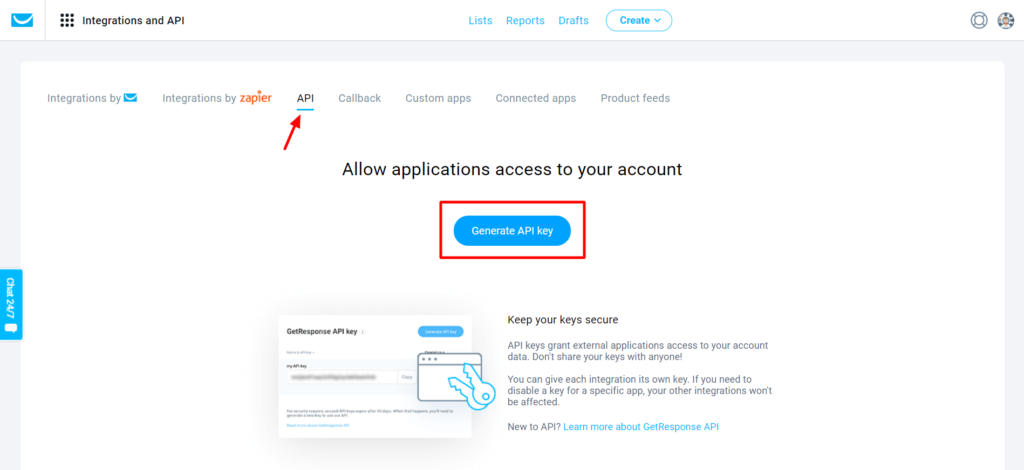 Get Response Generate API Key - WP Fluent Form