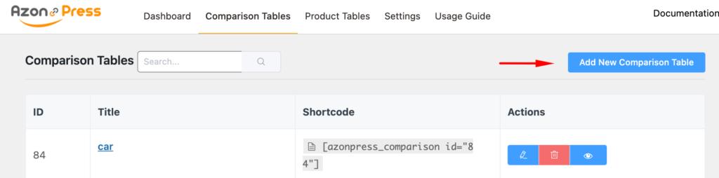 Azonpress - Add New Comp Table - sidebar