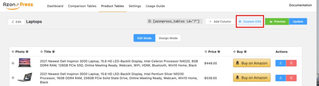 Click on Custom CSS - Azonpress