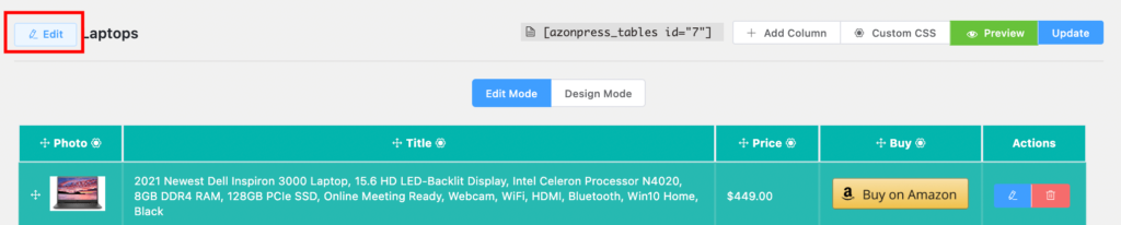 Edit Table Title - Azonpress