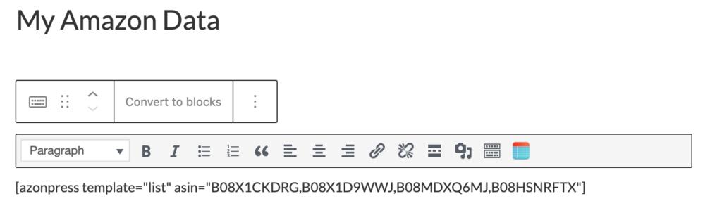 List template Shortcode - Azonpress