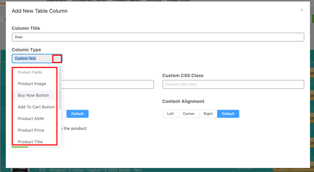 Select Column Type- Azonpress