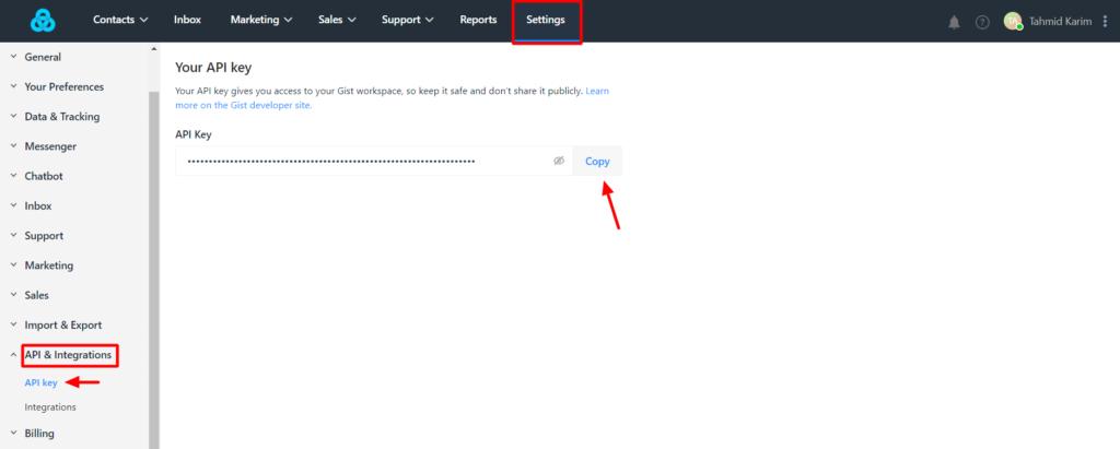 Get Gist API settings Fluent Forms