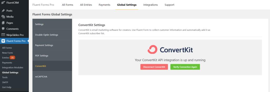 ConvertKit Integration Success Fluent Forms