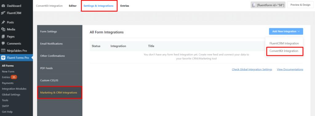 ConvertKit New integration Fluent Forms