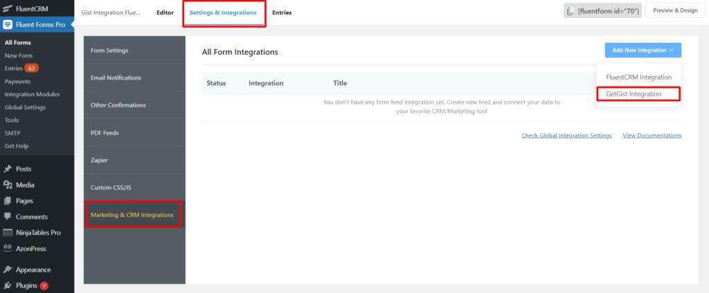 Get Gist New Integration Fluent Forms