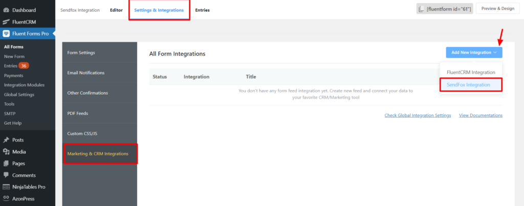 Sendfox New Integration Fluent Forms
