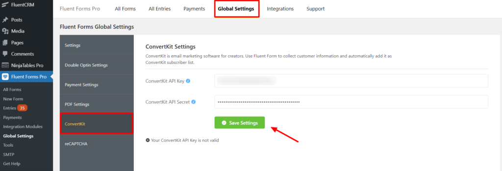 ConvertKit Global settings Fluent Forms