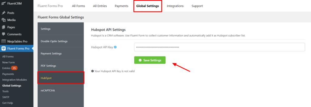 Hubspot Add API Fluent Forms