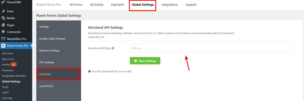 Moosend Global Settings - WP Fluent Form
