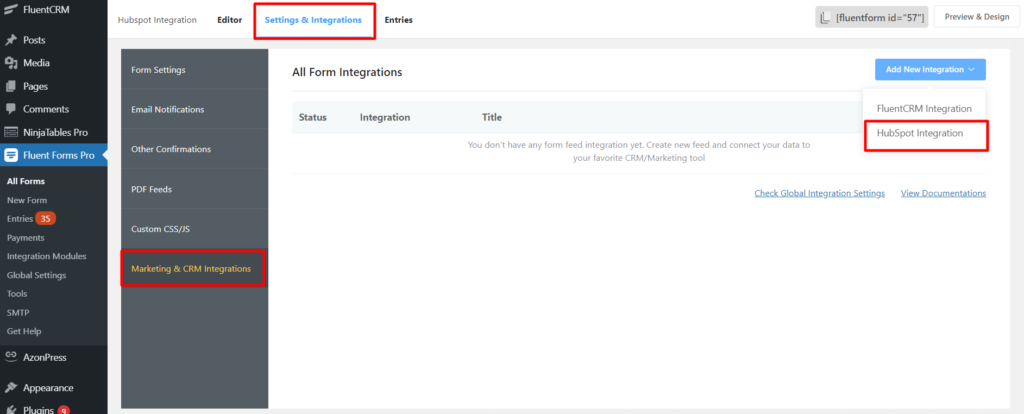 Hubspot Settings and Integrations Fluent Forms