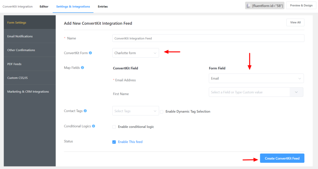 ConvertKit Field Mapping Fluent Forms