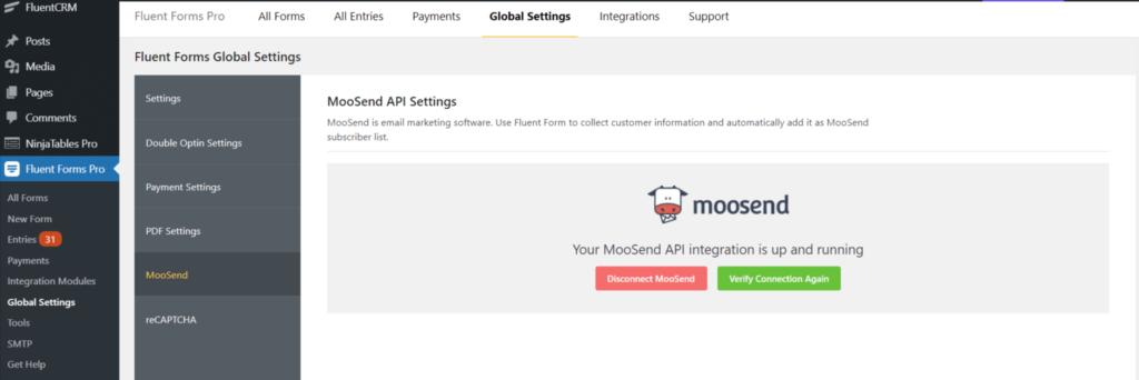 Moosend integration verified - WP Fluent Form