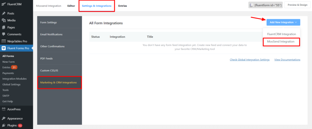 Add New Moosend Integration - WP Fluent Form