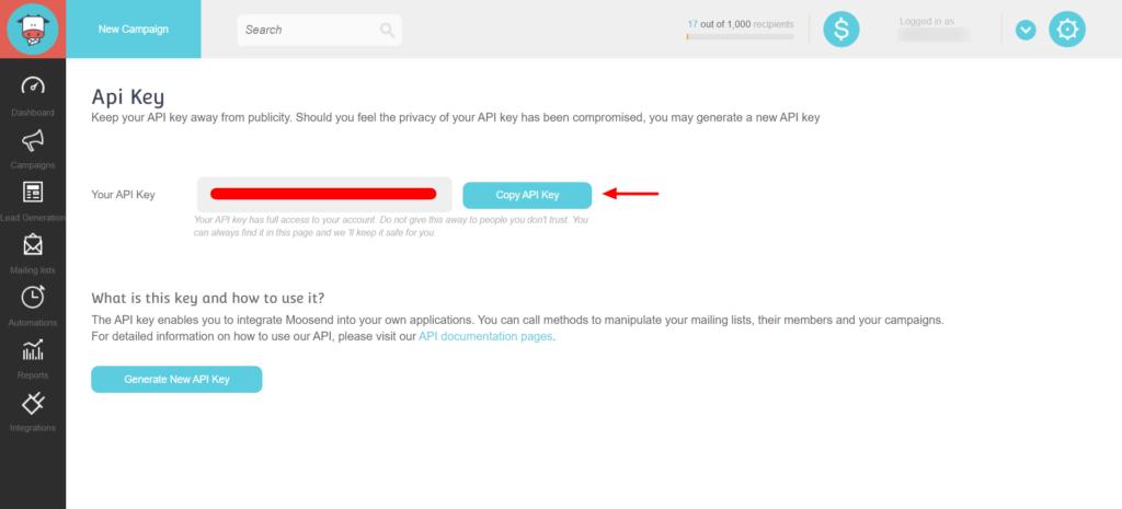 Get Moosend API Key - WP Fluent Form