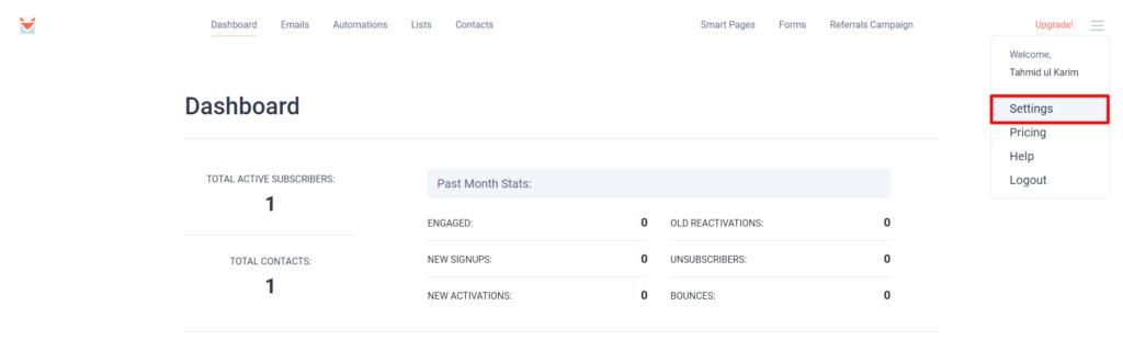 Sendfox API settings menu Fluent Forms