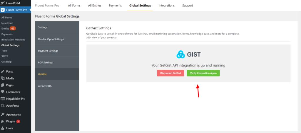 Get Gist Integration success Fluent Forms