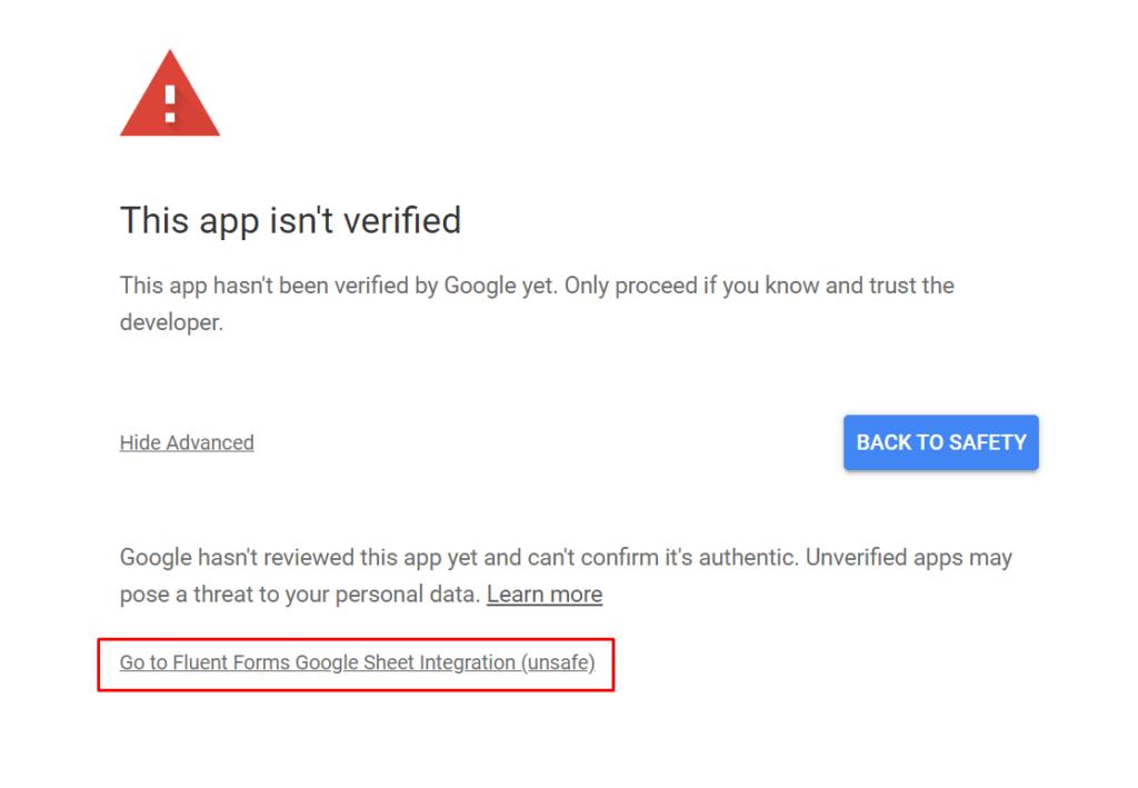Google Sheet Access Code Warning WP Fluent Forms