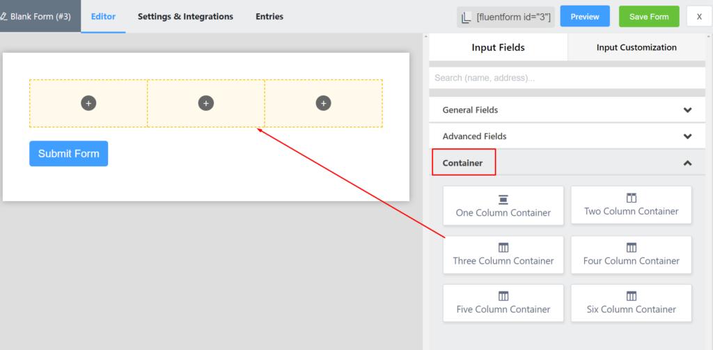 add inline-fields fluent forms