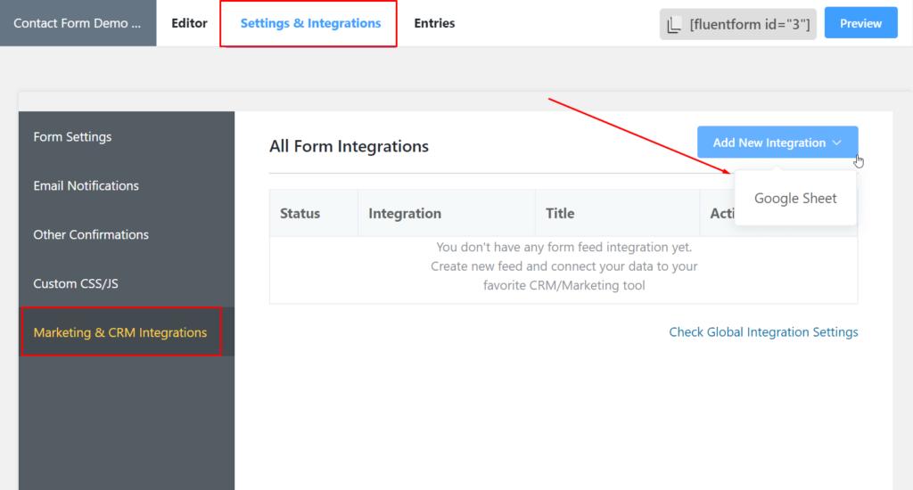 google sheets WordPress integration Fluent Forms