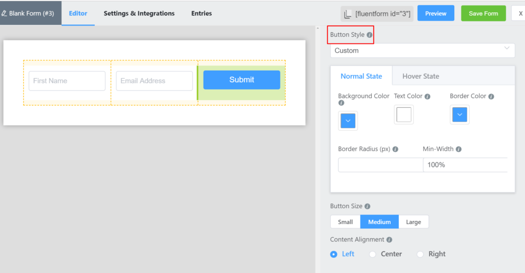 change the appearance of the submit button to fit the form