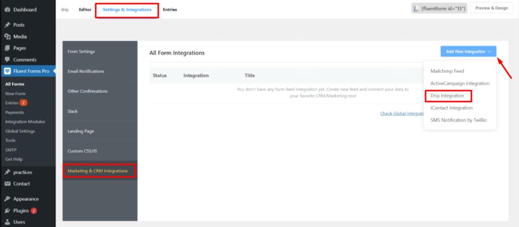 Drip New Integration Fluent Forms
