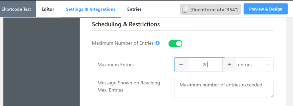 Maximum Number of Entries WP Fluent Forms