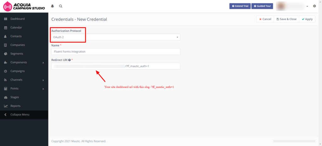 Mautic API key Fluent Forms