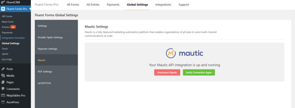 Mautic integration success Fluent Forms