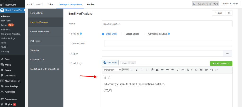 Conditional shortcode email notification
