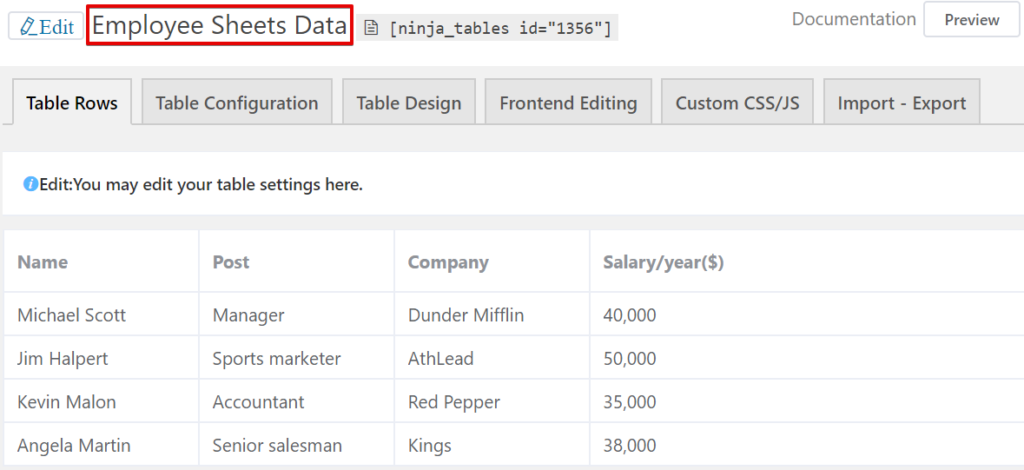 Create a table with Google Sheets data using a table plugin