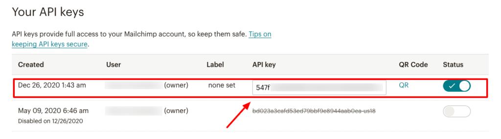 Mailchimp Integration Copy Api Fluent Forms.