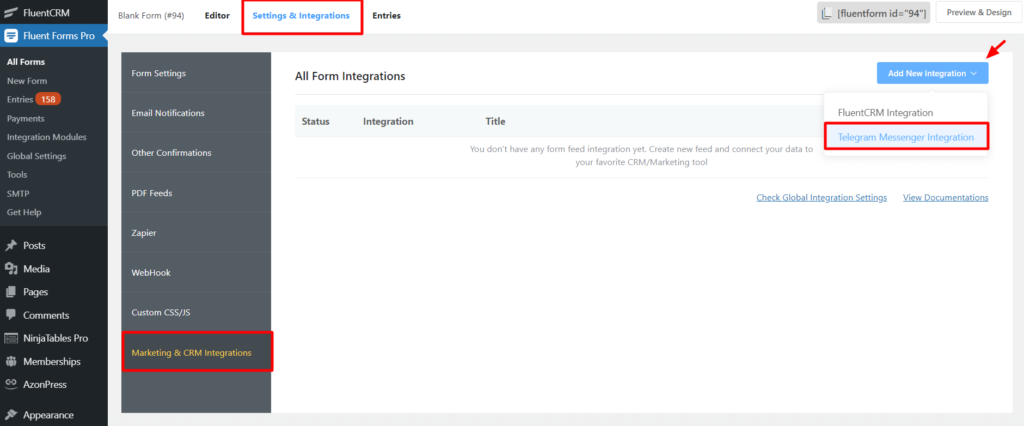 Telegram new integration Fluent Forms