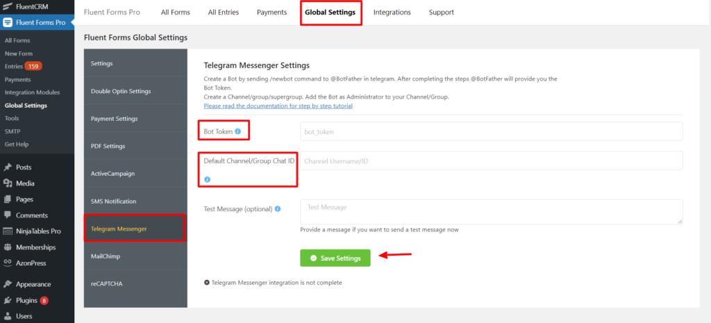 Telegram Global settings Fluent Forms