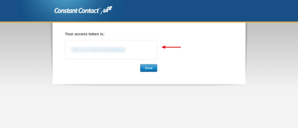Fluent forms Constant Contact API key