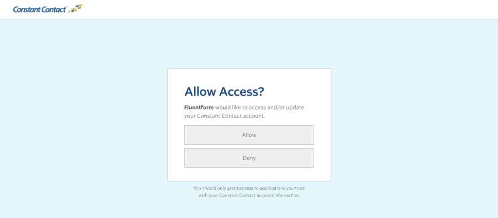 Fluent forms Constant Contact allow access
