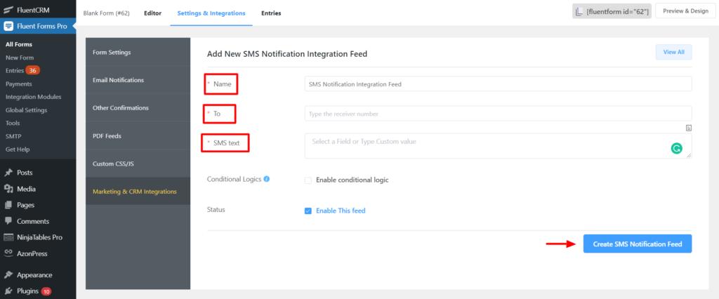 Twilio Setup new Integration Fluent Forms