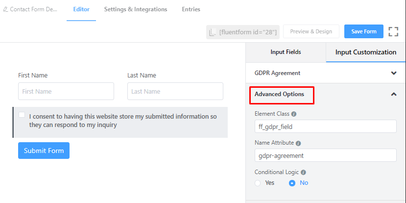 Advance Feature of GDPR field in Fluent Forms.png
