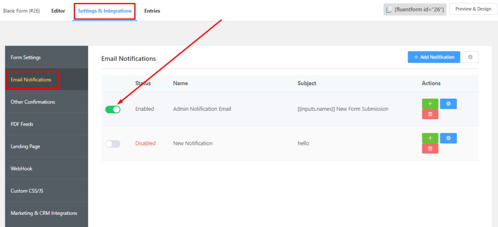 Enable email notification in Fluent Form.png