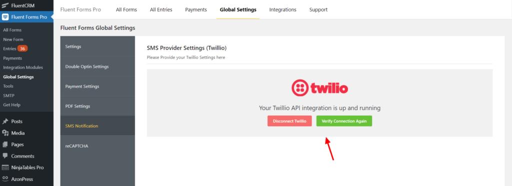 Twilio Integration Success Fluent Forms